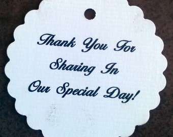Wedding Thank You Tags - Set of 50 - Personalized Tags - Scallop Tags