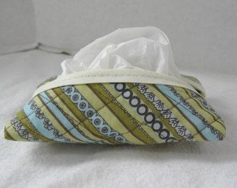 Quilted Tissue Holder Pocket Size Stripes Brown Sage Green