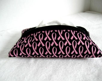 Tissue Holder Breast Cancer Black with Pink Support Ribbon Tissue Cozy