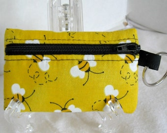 Bee Coin Purse - Bumblebee Change Purse - Coin Purse with Keychain -  Black Yellow - Bees Earbud Case