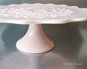 PINK milk glass cake stand Spanish Lace by Fenton