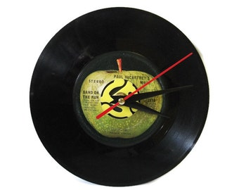 Vinyl Beatles Record Wall Clock Paul McCartney Desk Clock Upcycled Vintage Home Decor