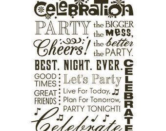 CLEARANCE Celebration Subway Art Message rubber stamp