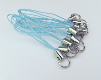 12 Light Blue Cell Phone Charm Straps, w/ Split Rings, bright blue straps with silver-tone metal--DIY, baby blue, craft supplies, supply