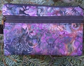 purple batik mini wallet, purse organizer, wristlet, purple garden batik, Sweet Pea