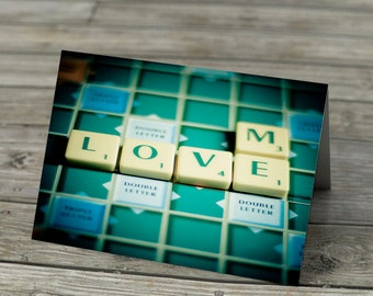 Scrabble Tiles Words Notecard -  Love Me in Scrabble Letters on classic board.  Romantic Valentine Love Greetings Card