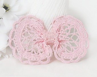 Light Pink Vintage Inspired Hair Bow Clip, Crochet Girls, Teen, Women's Hair Clip Accessory