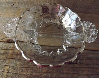 Divided Relish Dish, Sterling Overlay, Candy Dish, Art Deco Style