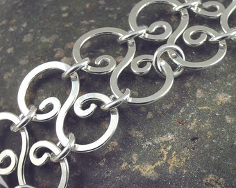 Double Link Bracelet Sterling Silver Handmade Soldered Hammered Wide Bold Statement - 8 inches - 20cm Poetry