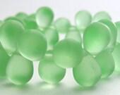 Sea Glass Teardrop Beads 8x6mm Glass Beads (20pk) Matte Peridot Green SI-8x6D-MPG