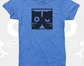 Men's TShirt, Dueling Watson the Cat, Men Tee Shirt, Cat, Crazy Cat, Mens Cat Shirt, Men Graphic Tee, Blue (4 Colors) T-Shirt for Men