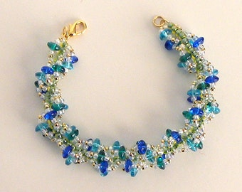 Beaded Spiral Loop Bracelet in blue and green