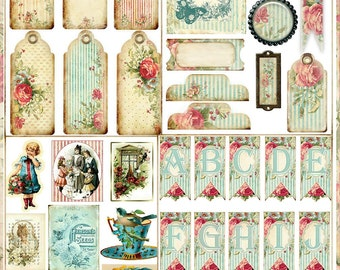 Shabby Roses Digital Mini Journal Book Kit with 24 Papers and 72 Embellishments MUST SEE Cottage Chic Printable  Instant Download
