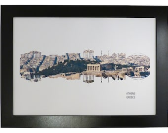 Athens, Greece Skyline Print with aerial city photo