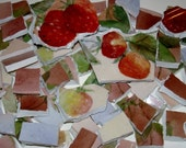 Mosaic Tiles - Vintage China -  Red Strawberries -  Blend of Mauve- Green - Pink -Yellow - Mocha - Lavander -  Hand Painted China -Tessera