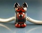 Min Pin Puppy Dog Handmade Lampwork Glass BHB European Charm Big Hole Bead sra Gelly