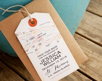 Save the Date Tag - St Thomas Destination Map - Magnetic Save the Date - Design Fee