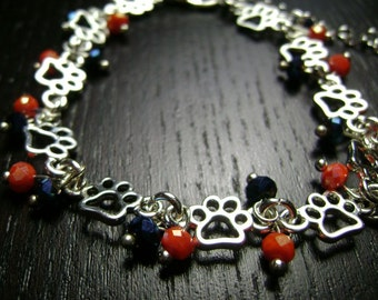 Paw Print Chain and Crystal Bracelet in Navy Blue and Orange