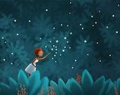 """Girls Art, Fairy tale, Whimsical Art Print - """"Take Me There"""""""