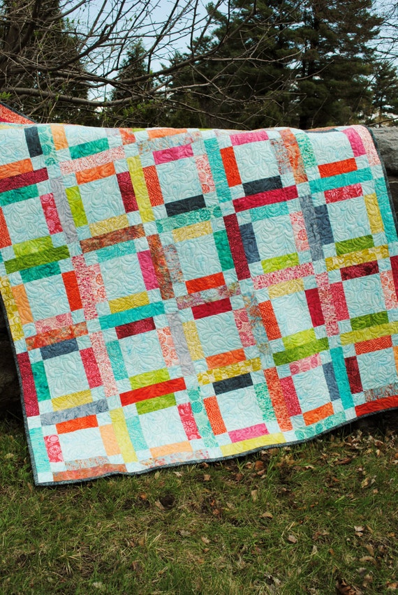 PDF Quilt PATTERN ....One Jelly Roll, Easy and Quick, Grandma Mary's Five Patch