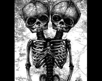 "Print 8x10"" - Skeleton - Flowers Dark Art Lowbrow Art Trees Bones Taxidermy Pink Gothic Macabre Zombie Morbid Anatomy Monster Pop Art Cute"