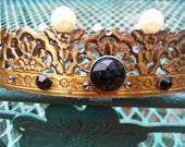 Vintage Brass Filigree Rose Crown