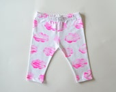 Pink cloud leggings, baby leggings, kids leggings, unisex leggings, hand printed on cotton spandex jersey