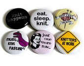 Funny Knitting Buttons or Knitting Magnets - Clever Knitting Badges - Great Gift for Knitters! (2nd set)