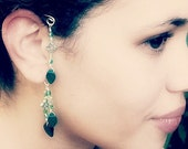 Emerald Green Irish Celtic Ear Cuff  Boho Wrap, No Piercing, Non Pierced Dangle Earrings