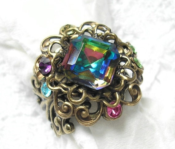 Enchanted Rainbow Ring - Vintage Vitrail Glass Jewel
