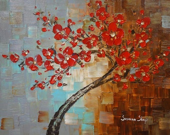 ORIGINAL Large Abstract Contemporary Red Cherry Blossom Tree Painting Thick Texture Gallery Fine Art by Susanna Ready to Hang 30x24