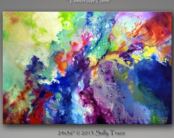 "Abstract Giclee Gallery Wrap on canvas from my original abstract painting ""Touch Me Here"", 24x36 inches Sally Trace"