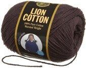Lion Cotton Worsted Weight  Knitting Crochet Cotton Yarn Espresso Dark Chocolate Brown