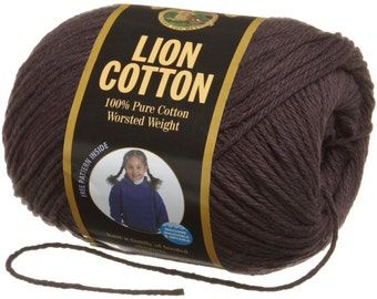 Lion Cotton Worsted Weight  Knitting Crochet Cotton Yarn Espresso Dark Chocolate Brown