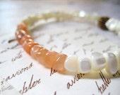 Moonstone bracelet, Natural Moonstone, Peach Moonstone, MOP bead, Mother of pearl, genuine MOP, Bohemian Style, stretch bracelet, candies64