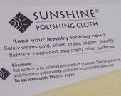 SUNSHINE Jewelry Polishing Cloth    Excellent way to polish silver, gold, copper, brass jewelry