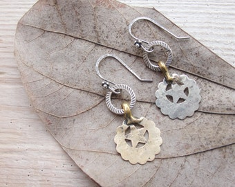 Vintage Kuchi Earrings handmade hammered finds Rustic Jewelry