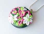 White Pink and Green Flower Polymer Clay Necklace, Swarovski Crystal, Gifts under 20