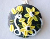Yellow and White Flower Polymer Clay Necklace, Swarovski Crystal, Gifts under 20