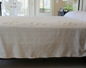 Vintage Chenille Bedspread Blanket - Soft White - Fluffy Soft
