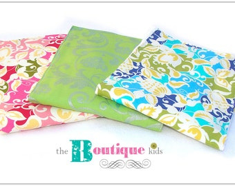 The Boutique Kids----3 pack burp cloth----Mod floral pink green blue Baby shower gift girl