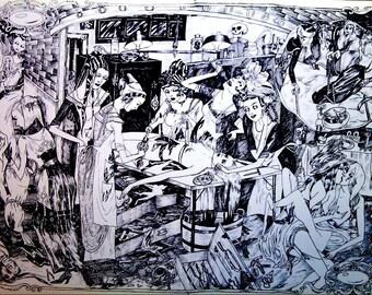 Dame Darcy, Victiorian, ghoul, girl, Vivisection, Print, Gothic, Lolita, Halloween, Illustration , Meat Cake, Comics, Manga