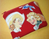 Red Western Cowgirls Zipper Pouch- Alexander Henry - Last One!
