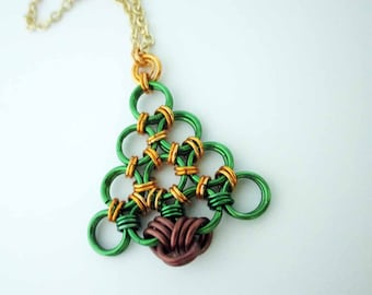 Chainmaille Christmas Tree Necklace Yellow Handmade