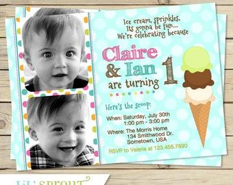 bunting triplet photo birthday invitation joint birthday by, Birthday invitations