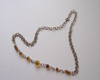 Necklace, Brown Glass Beads, Silver Tone Chain gift box included