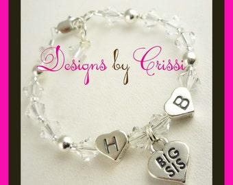 Big Sister Bracelet, Little Sister bracelet, Big Sis, Lil Sis charm with initials