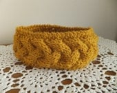 Cable knit headband- Vintage Yellow