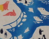 Tenugui 'Polar Bears & Penguins' Cotton Japanese Fabric w/Free Insured Shipping