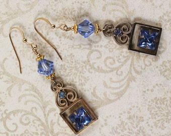 Vintage Upcycled Baby Blue Rhinestone and Crystal 14k Gold Fill Earrings